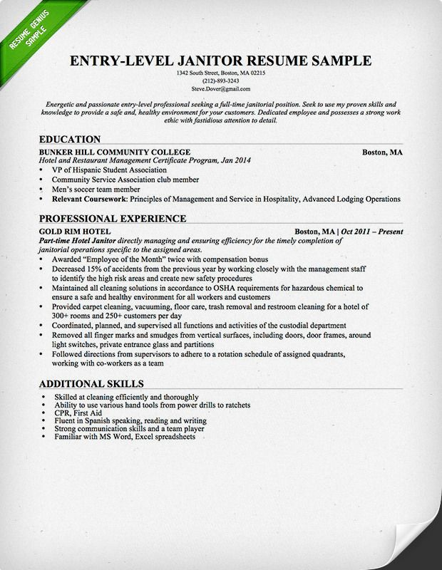 entry level janitor resume sample genius examples downloadable template objective for Resume Resume Objective For Janitorial Position