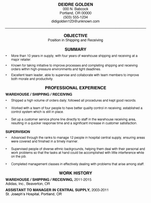 entry level warehouse resume beautiful functional sample shipping and receiving template Resume Shipping And Receiving Manager Resume Sample