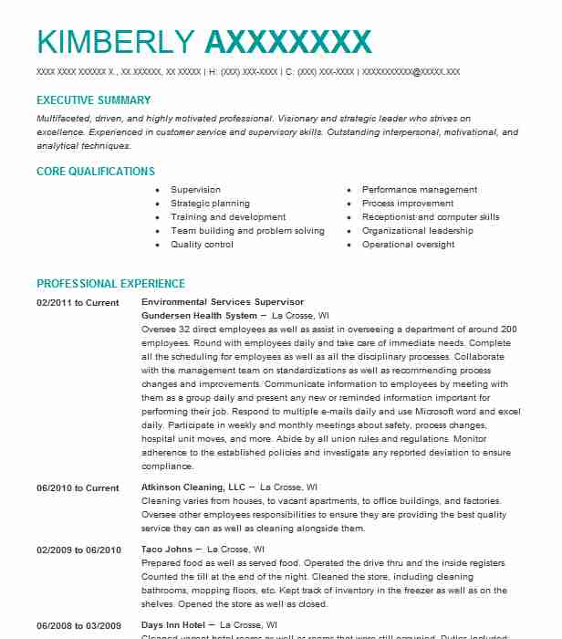 environmental services supervisor resume example livecareer construction company examples Resume Environmental Services Supervisor Resume