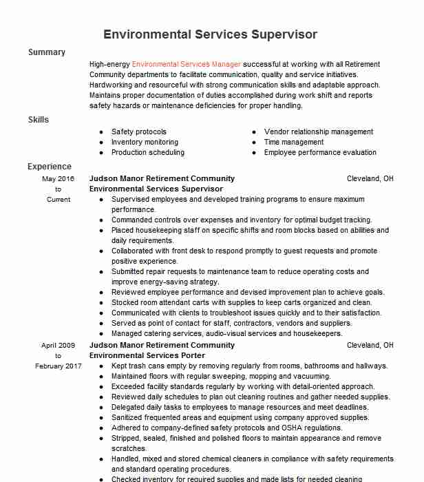 environmental services supervisor resume example livecareer for owning your own business Resume Environmental Services Supervisor Resume