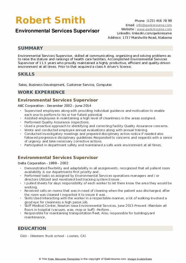 environmental services supervisor resume samples qwikresume pdf references upon request Resume Environmental Services Supervisor Resume