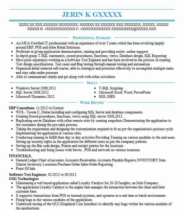 erp consultant resume example technical resumes livecareer with experience catchy Resume Resume With Erp Experience