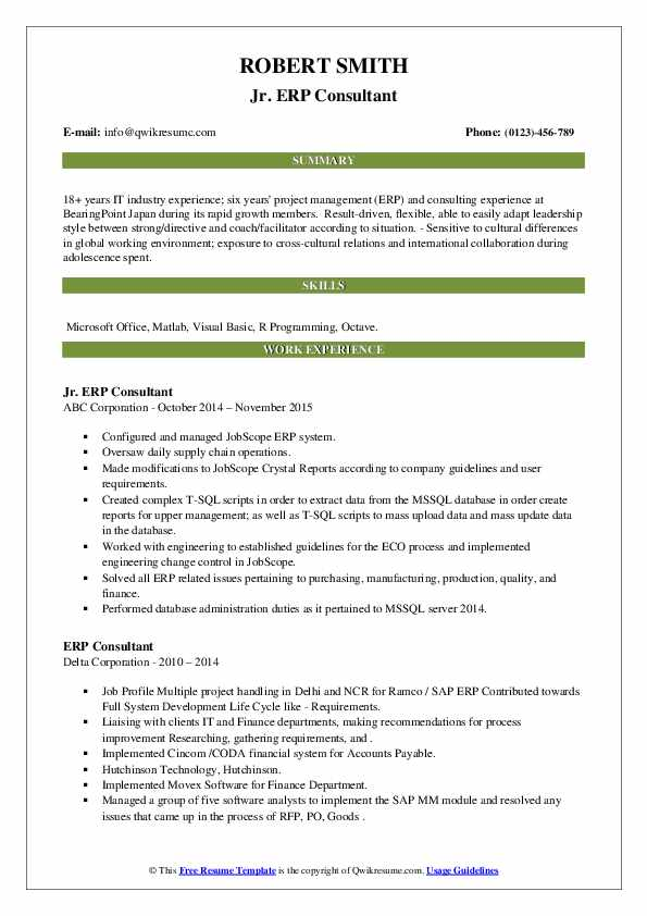 erp consultant resume samples qwikresume with experience pdf objective recent graduate Resume Resume With Erp Experience