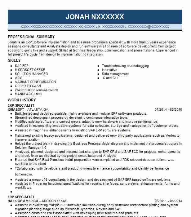 erp specialist resume example resumes livecareer sap implementation cost accountant for Resume Sap Implementation Resume