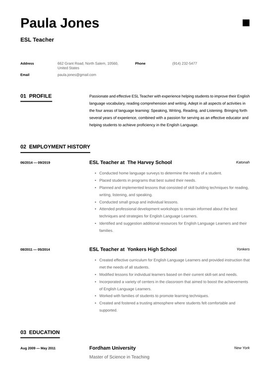 esl teacher resume examples writing tips free guide io another word for tutor on Resume Another Word For Tutor On Resume