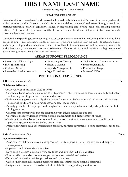 estate agent resume sample template examples for professionals customer service objective Resume Resume Examples For Real Estate Professionals