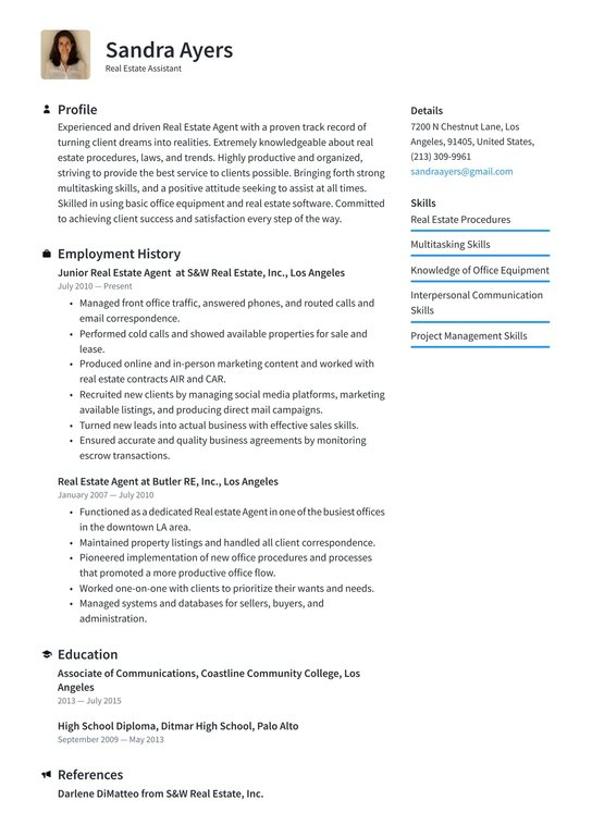 estate assistant resume examples writing tips free guide io for professionals entry level Resume Resume Examples For Real Estate Professionals
