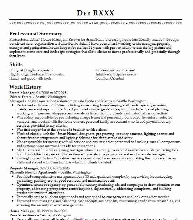 estate manager resume example private danbury sample bookkeeper office free templates Resume Private Estate Manager Resume