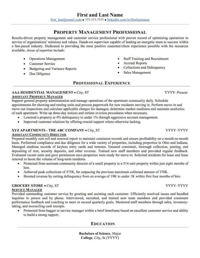 estate property management resume sample professional examples topresume manager nurse Resume Property Manager Resume