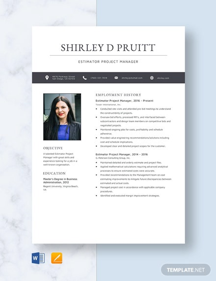 estimator project manager resume template word apple for practicum student counseling Resume Estimator Project Manager Resume
