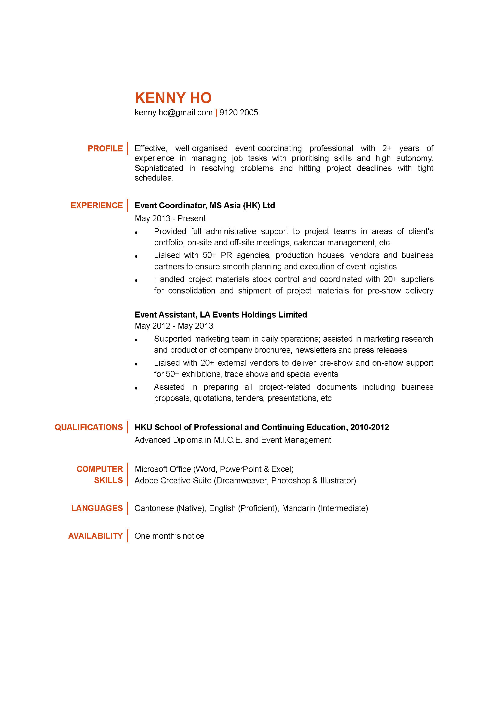 event coordinator cv ctgoodjobs powered by career times resume availability sample best Resume Resume Availability Sample