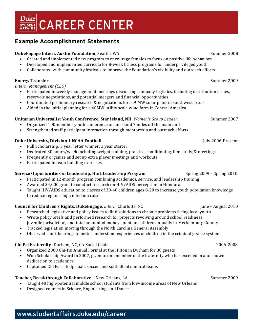 example accomplishment statements career counseling resources good resume examples format Resume Accomplishment Resume Format