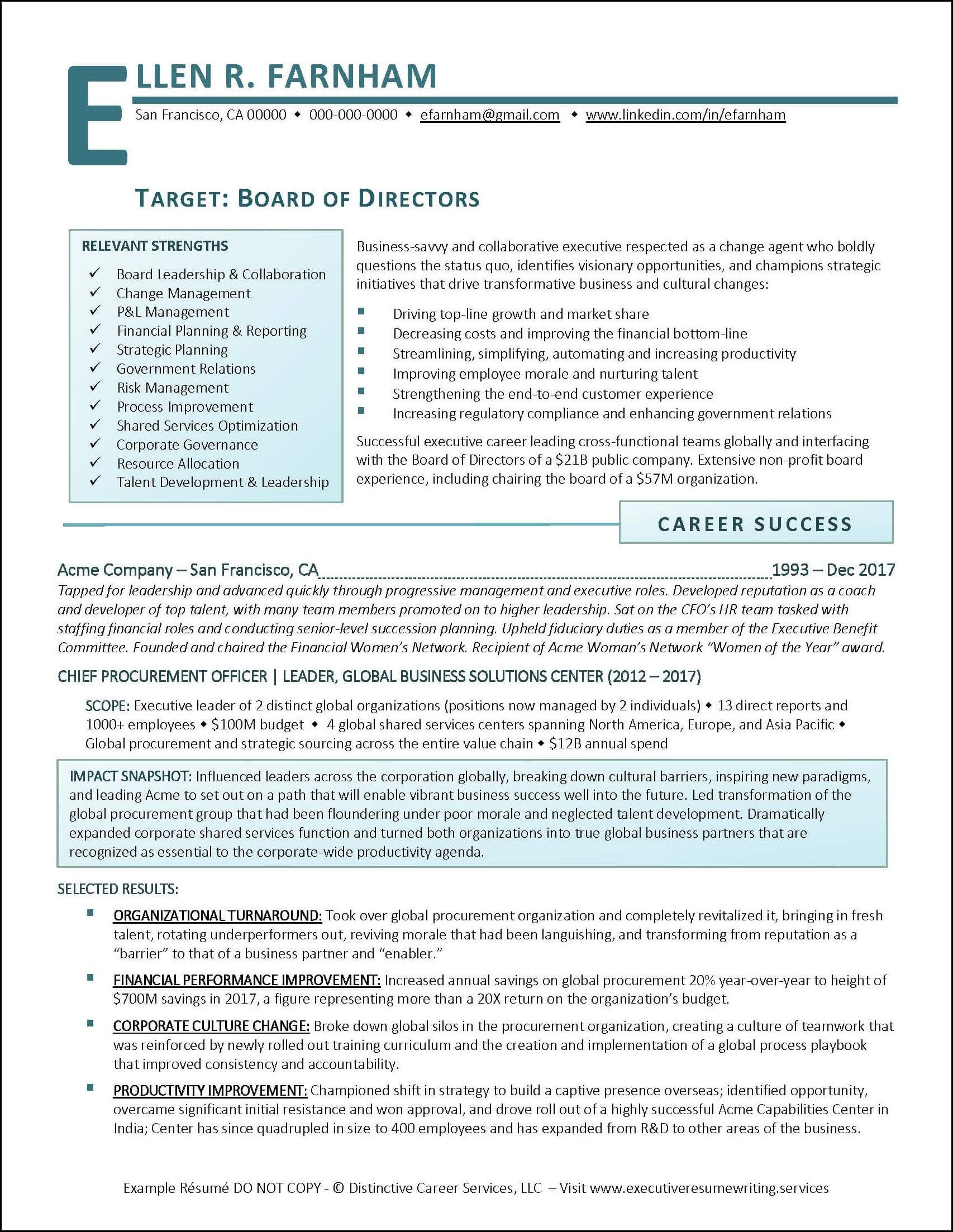 example board of directors executive resume pg examples infographic professional writing Resume Professional Executive Resume Writing Services
