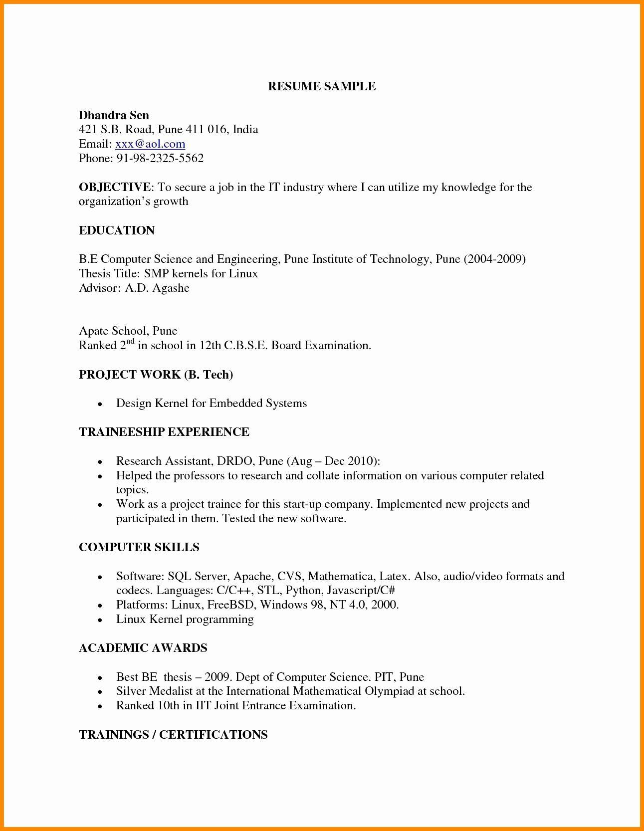 example of resume for engineering fresh graduate best examples sample computer science Resume Sample Resume For Computer Science Fresh Graduate