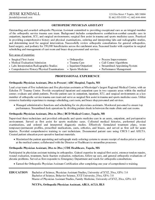 example orthopedic physician assistant resume free sample medical no experience examples Resume Emergency Medicine Physician Assistant Resume
