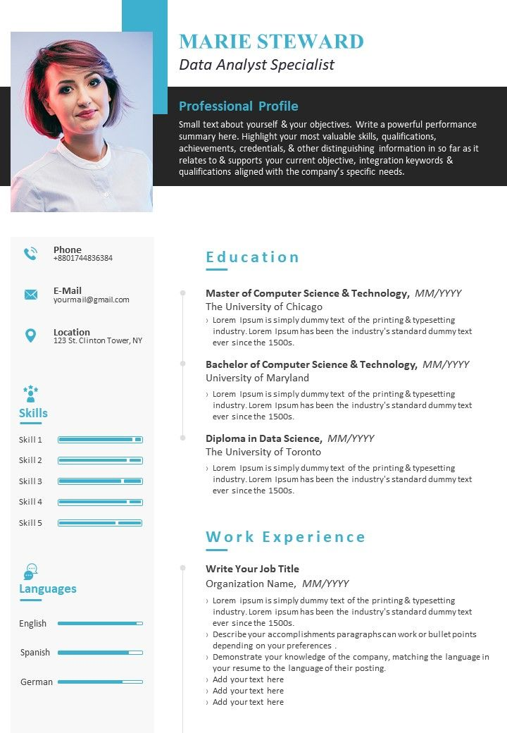 example resume cv template for data analyst specialist presentation powerpoint templates Resume Resume Specialist Toronto