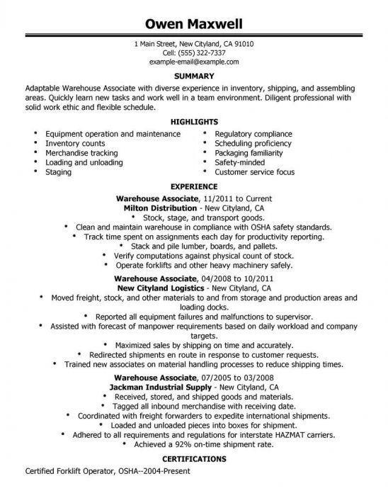 example resume warehouse worker objective forklift driver examples sample coaching Resume Forklift Driver Warehouse Worker Resume