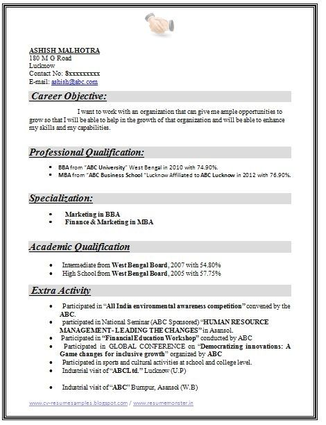 example template of an excellent mba finance marketing resume sample for freshers with Resume Mba Application Resume Objective Statement