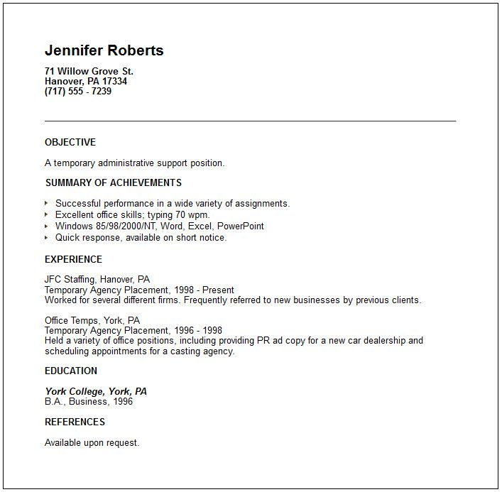 examples of short resumes temporary placement agency resume example utilizing proven Resume Best Short Resume Format