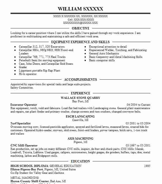 excavator operator resume example resumes livecareer sample funny skills for safety Resume Excavator Operator Resume Sample