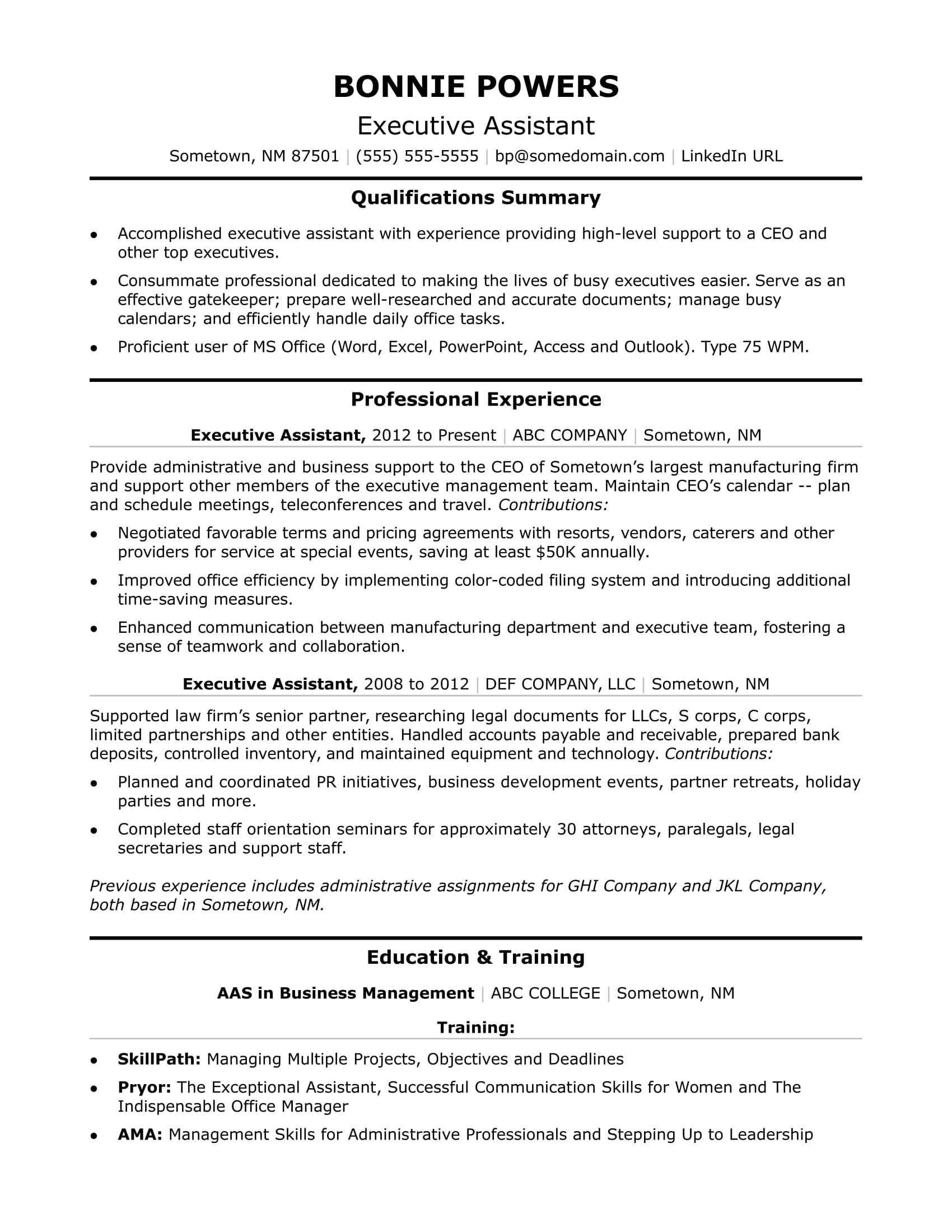 executive administrative assistant resume sample monster summary of example veteran Resume Executive Summary Of Resume Example