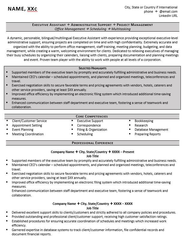 executive assistant resume example job examples title for administrative linkedin summary Resume Resume Title Examples For Administrative Assistant
