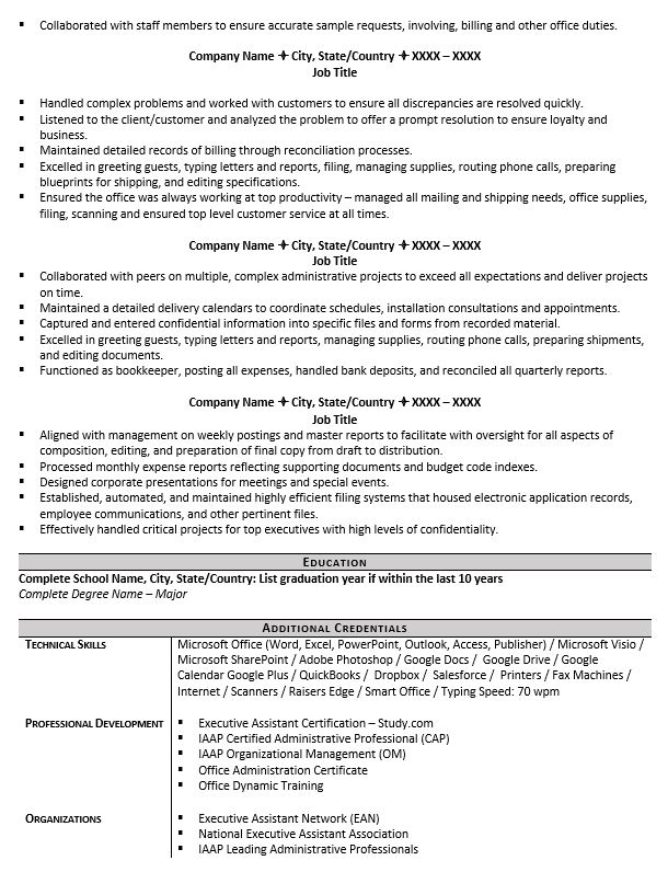 executive assistant resume example tips to writing one administrative title sample for Resume Administrative Assistant Resume Title