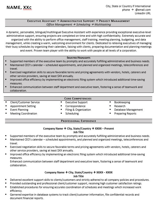 executive assistant resume example tips to writing one customer service core competencies Resume Customer Service Core Competencies Resume