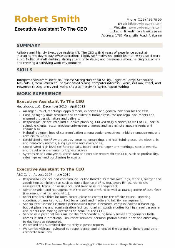 executive assistant to the ceo resume samples qwikresume template word free pdf put on Resume Ceo Resume Template Word Free