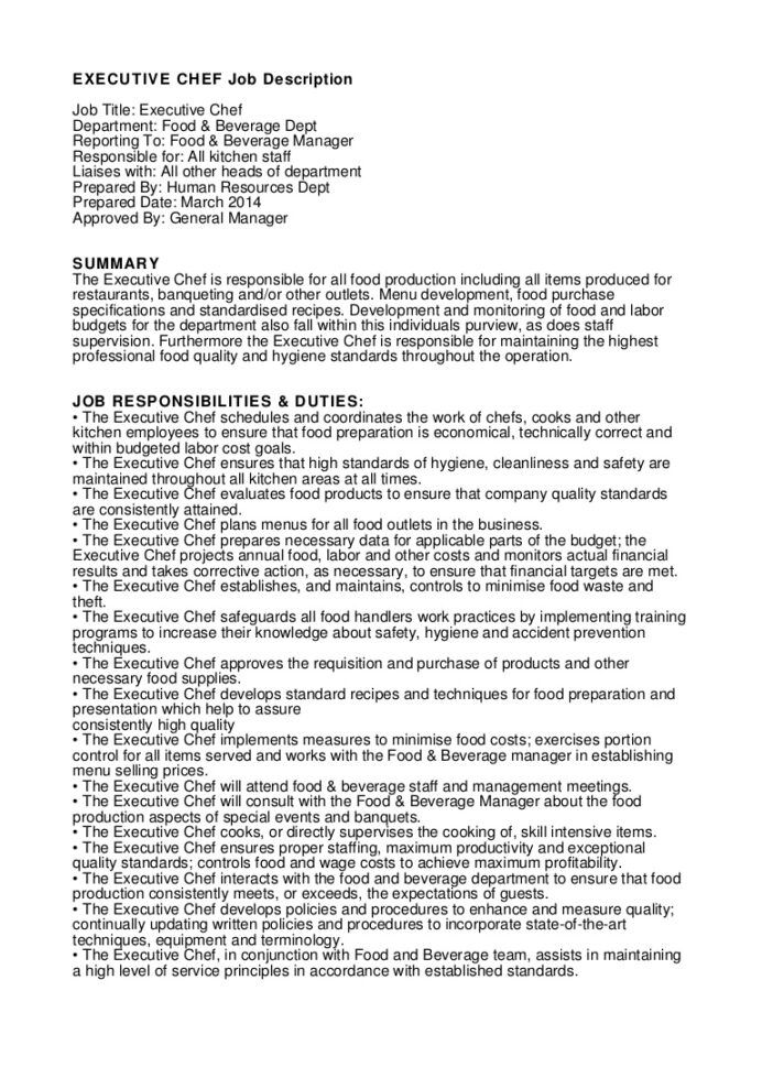 executive chef job description kitchen staff for resume executivechefjobdescription Resume Kitchen Staff Job Description For Resume