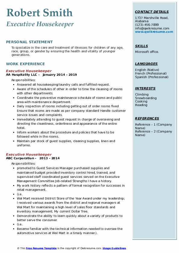 executive housekeeper resume samples qwikresume sample for housekeeping position pdf now Resume Sample Resume For A Housekeeping Position