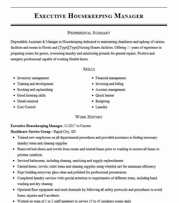 executive housekeeping manager resume example doubletree by hilton hotel savannah airport Resume Housekeeping Manager Resume