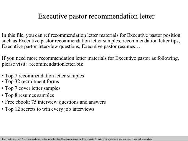 executive pastor recommendation letter resume for pastoral candidate cleaning services Resume Resume For Pastoral Candidate
