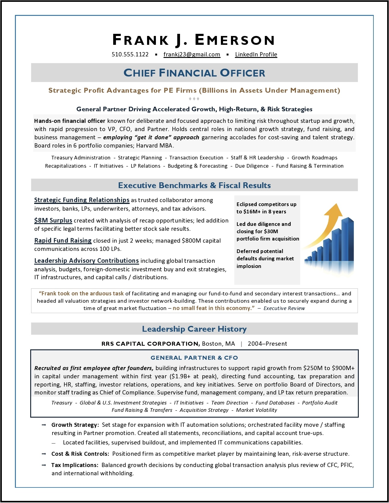 executive resume samples award winning vp communications private equity cfo sample by Resume Vp Communications Resume