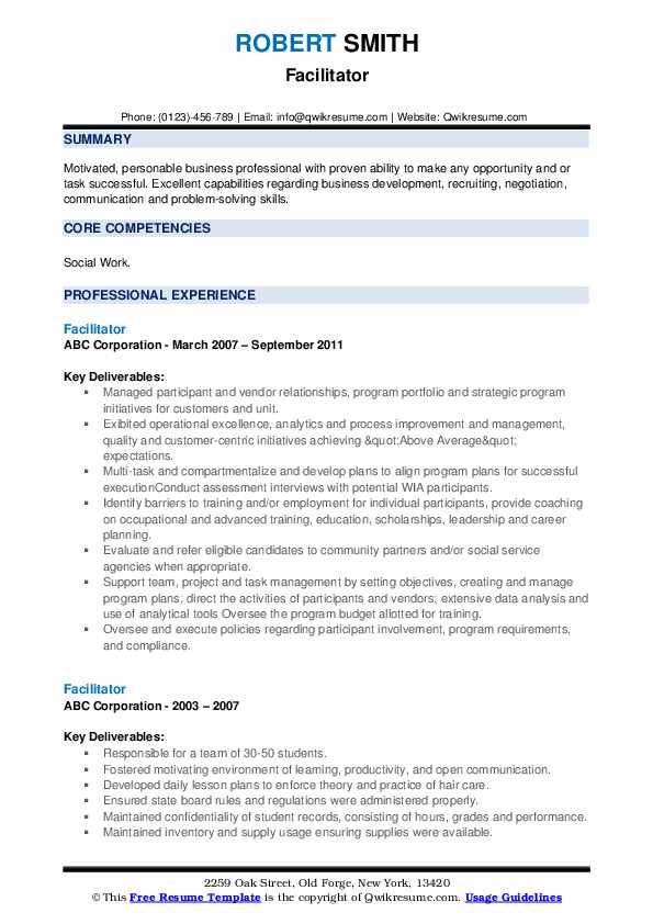 facilitator resume samples qwikresume template with core competencies pdf high school Resume Resume Template With Core Competencies