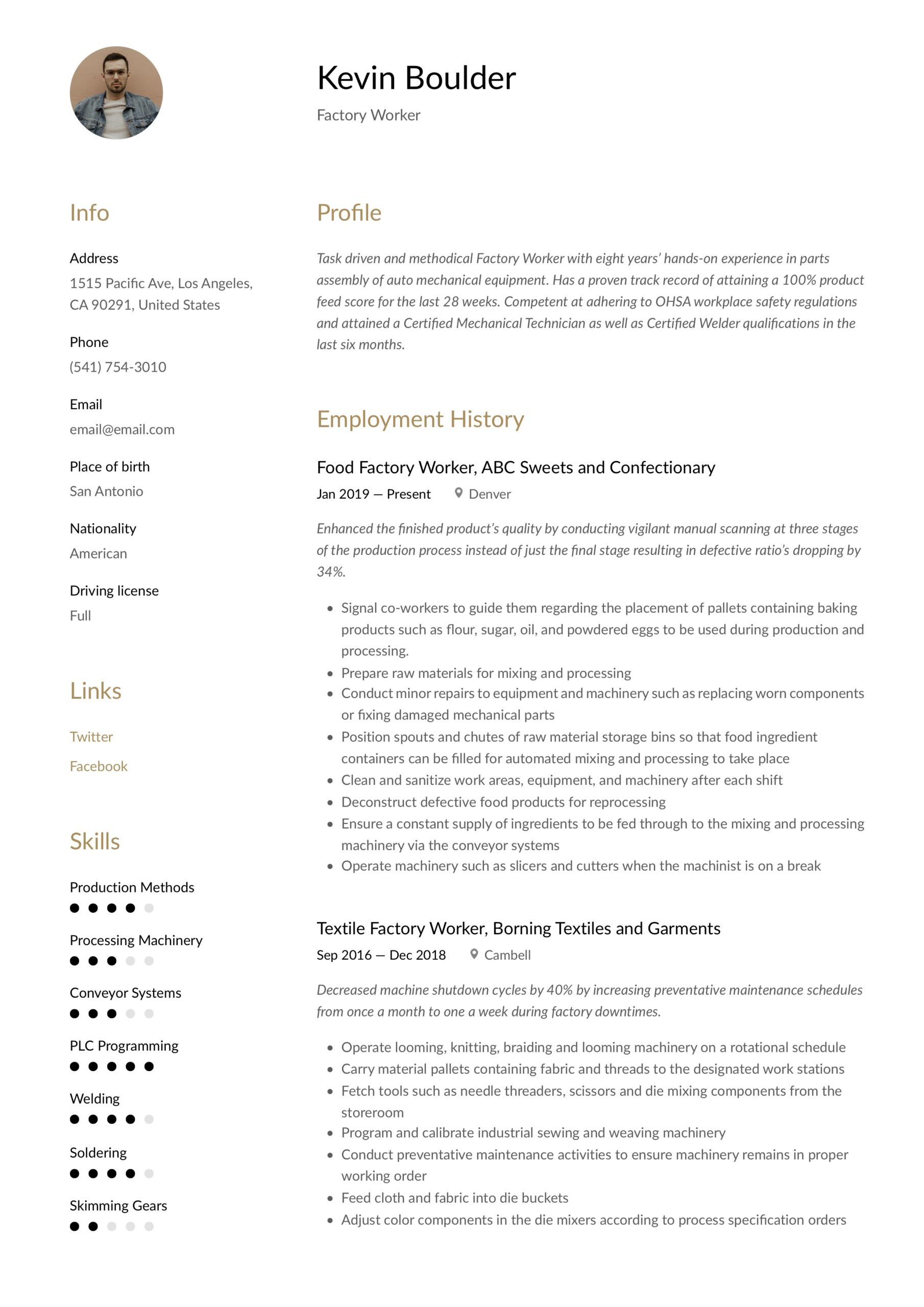 factory worker resume writing guide examples sheet metal example laura template word Resume Sheet Metal Worker Resume Example