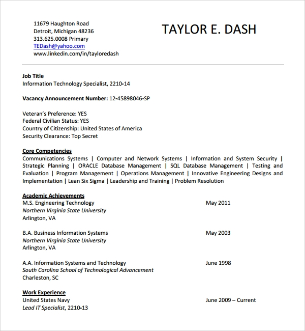 fbi core competencies resume federal template with information technology cv microsoft Resume Resume Template With Core Competencies