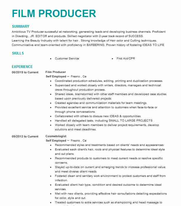 feature film producer resume example the farm creative new theater of customer service Resume Theater Producer Resume