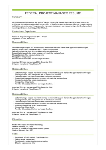 federal project manager resume example responsibilities sample image building good rn Resume Project Manager Responsibilities Resume
