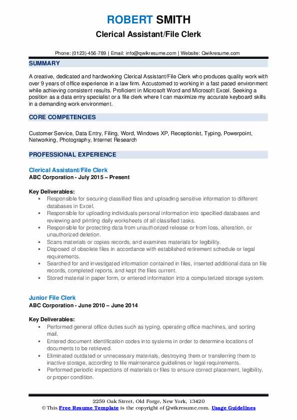 file clerk resume samples qwikresume sample pdf physical therapy technician summary Resume File Clerk Resume Sample