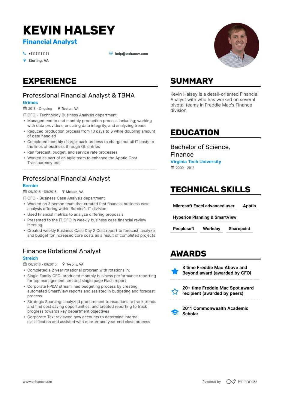 financial analyst resume example for enhancv planning analysis office secretary examples Resume Financial Planning & Analysis Resume
