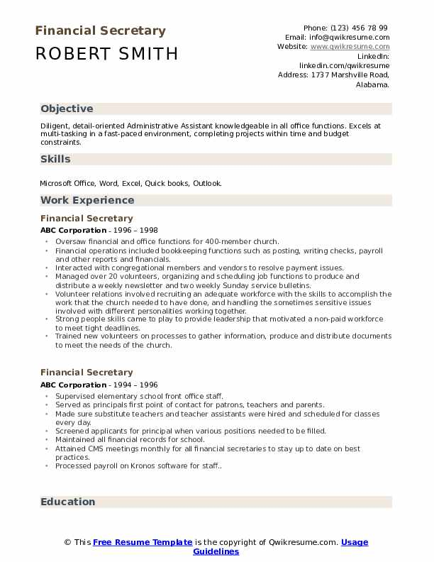 financial secretary resume samples qwikresume description pdf office administrator sample Resume Secretary Resume Description