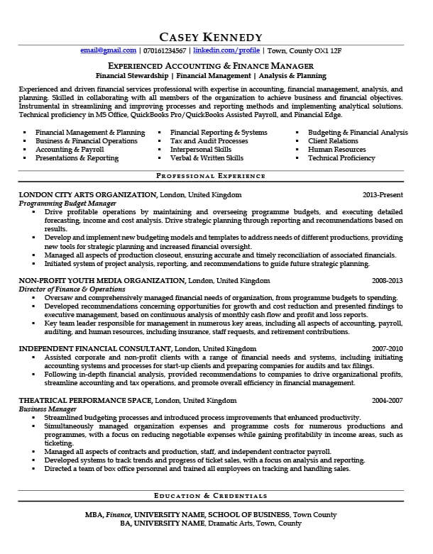 financial services cv writing example success topcv resume after apprentice plumber does Resume Financial Services Resume