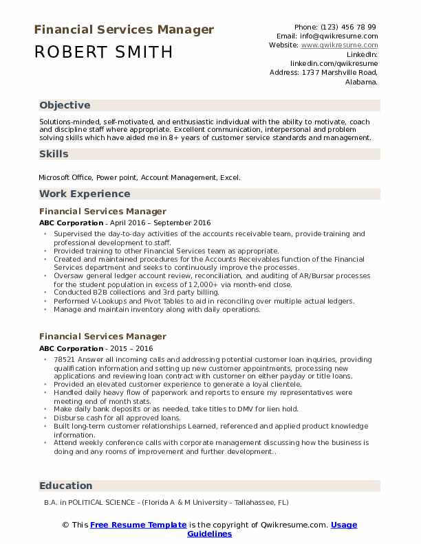 financial services manager resume samples qwikresume pdf consumer reports best writing Resume Financial Services Resume