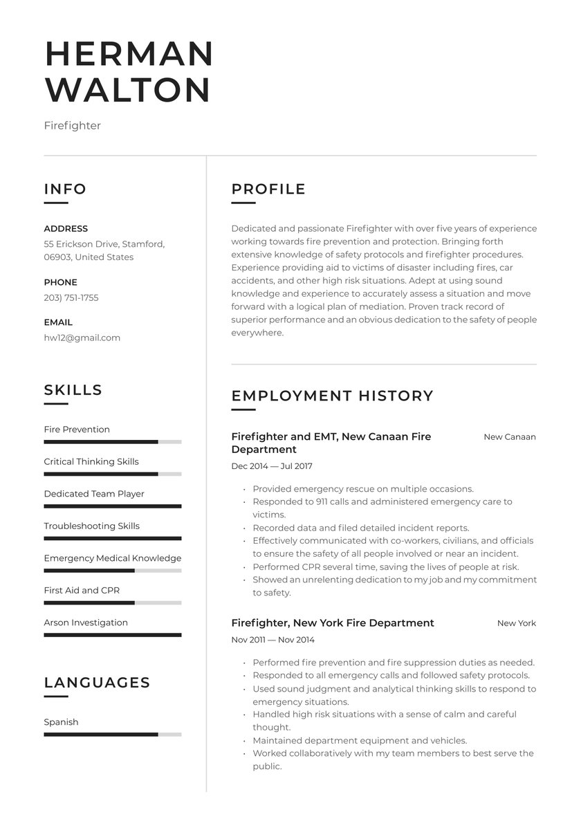 firefighter resume examples writing tips free guide io example entry level engineering Resume Firefighter Resume Example Entry Level