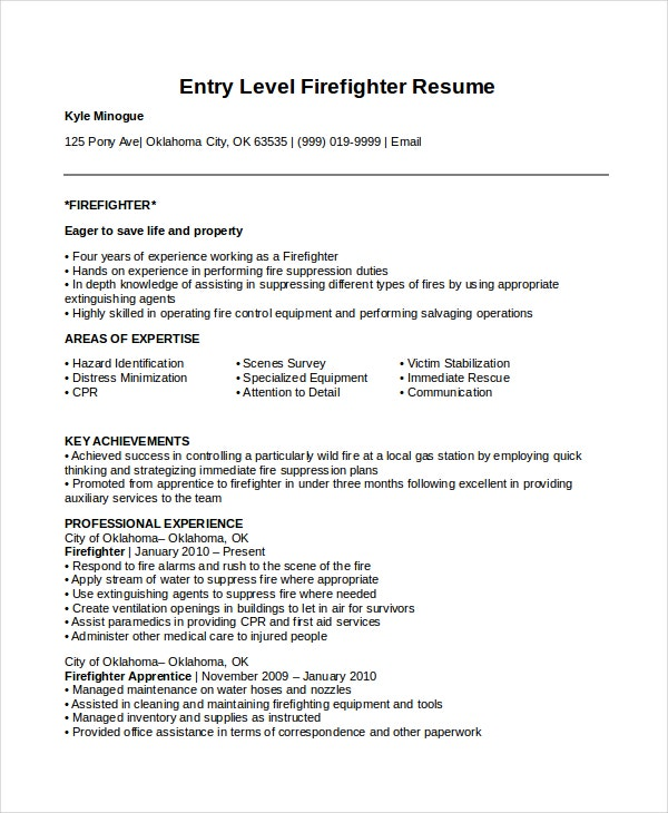 firefighter resume templates pdf free premium example entry level sample academic for Resume Firefighter Resume Example Entry Level