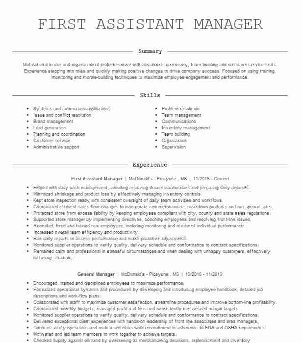 first assistant manager resume example burger crescent city contagion film contract Resume Burger King Assistant Manager Resume