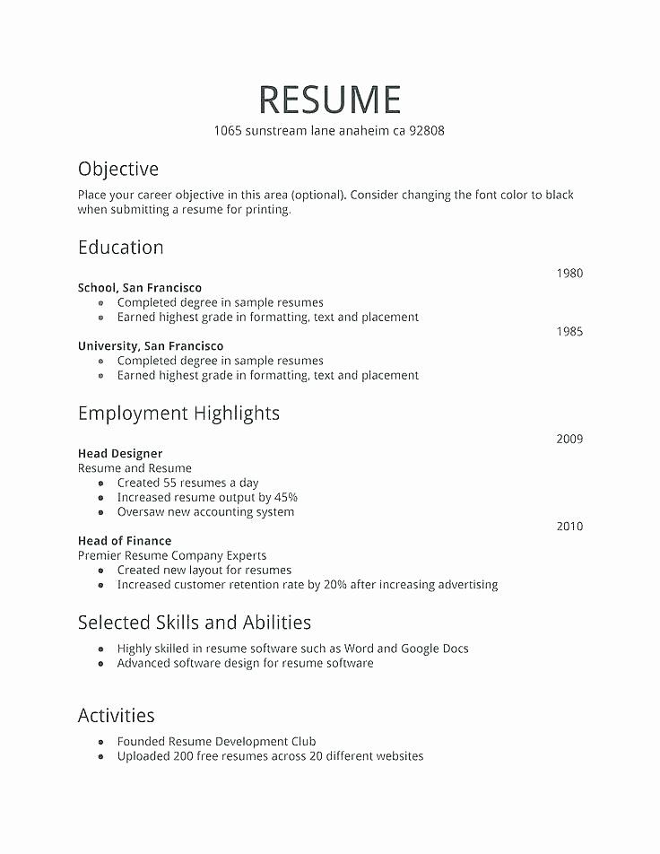 first job resume template inspirational examples simple free law enforcement electronic Resume First Job Resume Template Free