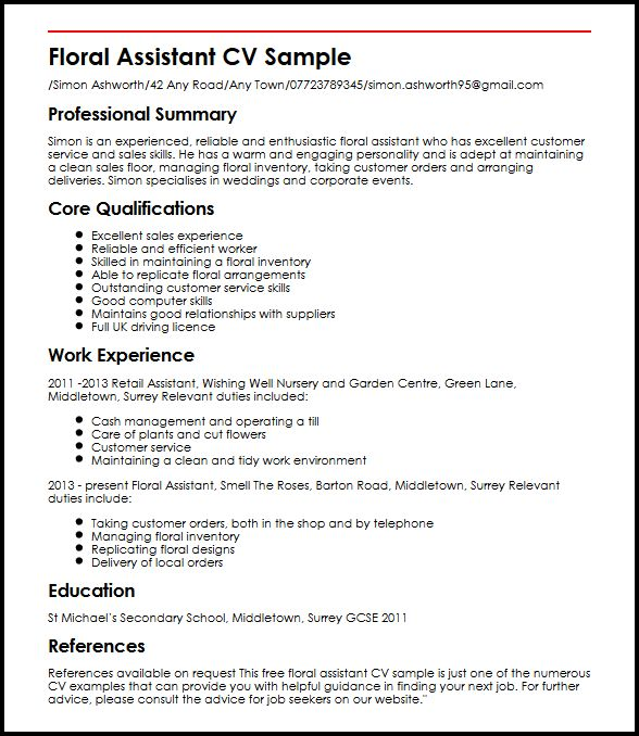 floral assistant cv example myperfectcv resume sample insurance underwriter professional Resume Floral Assistant Resume