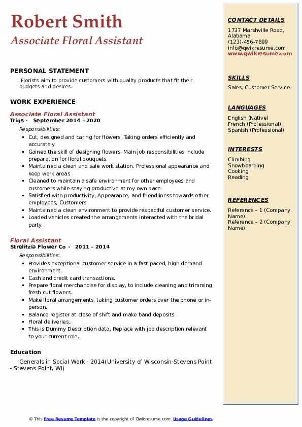 floral assistant resume samples qwikresume pdf examples for project coordinator hobbies Resume Floral Assistant Resume